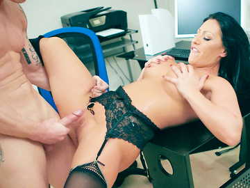 Seductive brunette with fake tits Candi Kayne gets banged in office room
