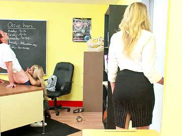 Bridgette B. and Julia Ann bang young student in the classroom threesome