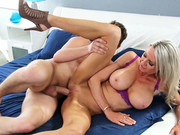 Busty mom Emma Starr takes a small payment for butter in the form of her son's friend's cock